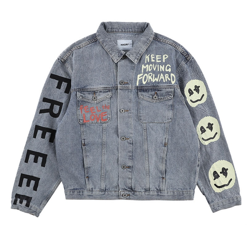 Kanye West KIDS SEE GHOSTS Graffiti Mens Jeans Jackets