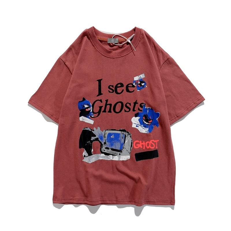 SHESRIM Kanye West Kids See Ghosts Neck Loose Casual T-shirt 3D Foam Letter Men Women Hip Hop Vintage Oversized Printed T-shirt