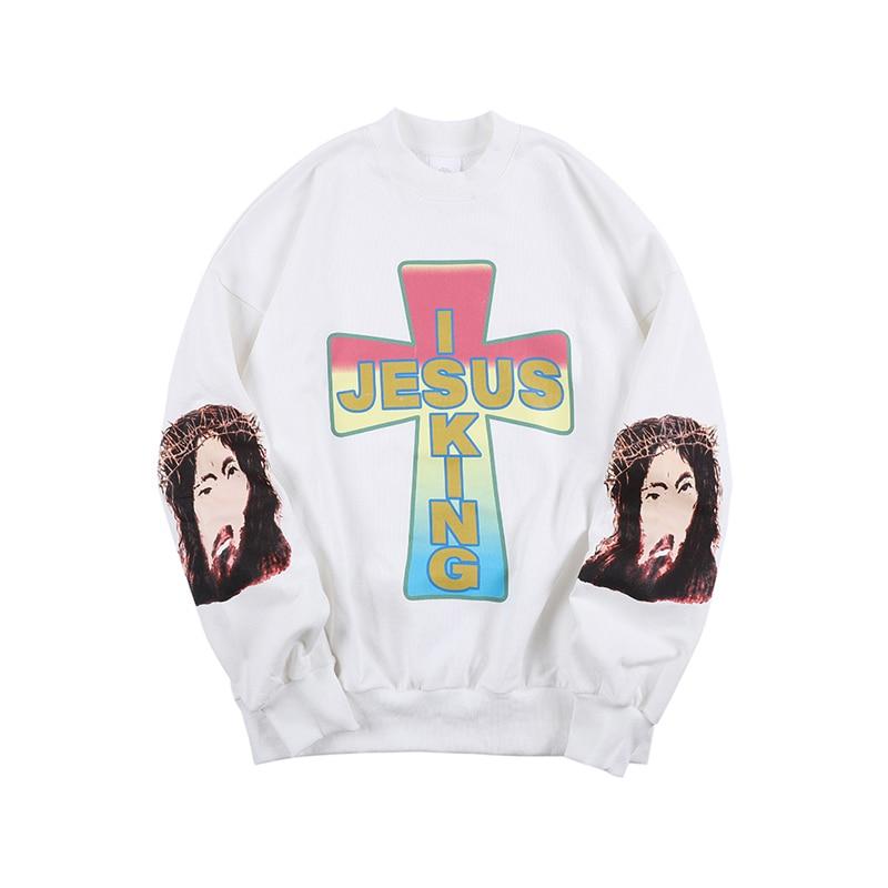 Jesus Is King Long Sleeve Print Sweatshirt